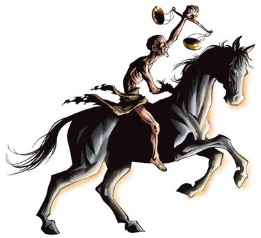 Black horse of famine described in Revelation 6.