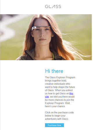 Screenshot of Google Glass invite