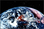 Photo of the earth from outerspace.