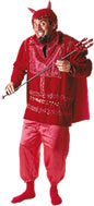 Man in red devil costume with pitchfork