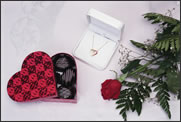 Valentine Heart candy , necklace and rose