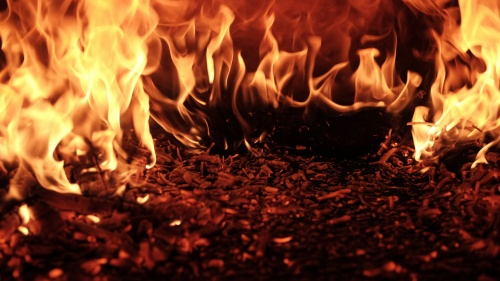 Flames of a fire.
