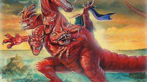 Artist rendition of John's vision in Revelation 17.