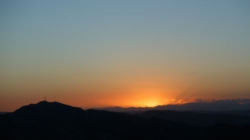 Sunset of mountains.