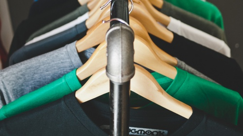 A rack of clothes.