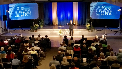 Steve Myers speaking at the Beyond Today Live event in St. Louis.
