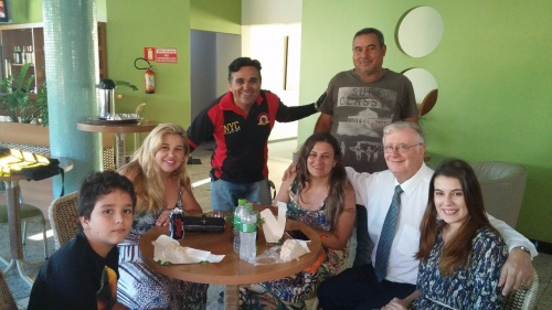 Jorge de Campos with members after church services in Uberlândia, Brazil.