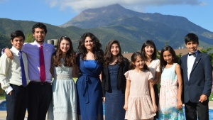 Some of the youth in Chile with a scenic backdrop.