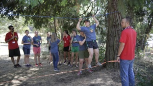 Campers and staff take part in an activity at Camp Hye Sierra.