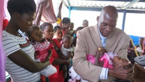 Blessing the children at the Feast in Lusaka, Zambia.