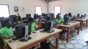 Campers during a computer skills class at UYC's camp in Ghana.