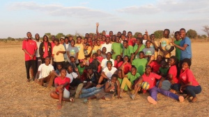 Campers and staff mile for a photo at UYC's camp in Malawi.