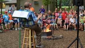 The campfire sing-along at camp Buckeye.