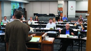ABC Coordinator Dr. Frank Dunkle addresses incoming students during orientation.