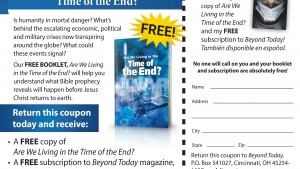 """This is a graphic of the newspaper advertisement for """"Are We Living in the Time of the End?"""""""
