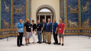 From left to right: Steve Myers, Rudy Rangel, Jesmina Allaoua, Peter Eddington, Darris McNeely, Paul Kieffer, Gary Petty and Jamie Schreiber. Pictured is the crew who took part in this project. They are seen at the Ishtar Gate Exhibit at the Pergamon Muse