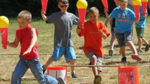 Campers enjoying novelty olympic games.