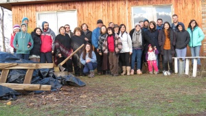 Volunteers of the United Youth Corps project and members of the Temuco congregation in Chile.