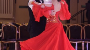 Alexander Schweitzer with his dance partner at the Wisconsin Dancesport Championships where he won five medals in various competitions.