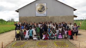 The congregation and new building at Mufumbwe, Zambia.