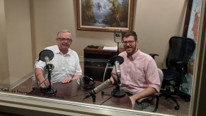 Victor Kubik and Steven Britt in the recording studio during one of the recent podcasts they made. The topic was based around science and the Bible.