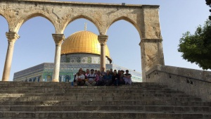 The group of participants on by the Dome of the Rock on the Temple Mount in the Old City of Jerusalem.
