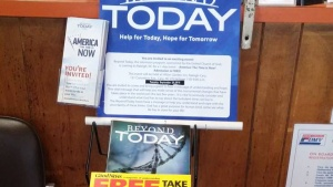A display in a store of the Beyond Today magazines and Beyond Today Live event brochures.