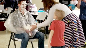 Joshua Creech, after his wife Lizzy throws a pie in his face for the Nashville's Camp Nacome fundraiser.