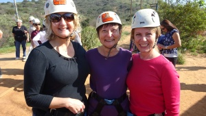 Three happy zipliners: Janet Phillips, Marie Zelenka and Sherie Stores (photo by Jean Updegraff).