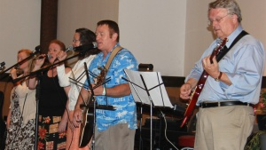 Musicians playing at the Pentecost weekend.