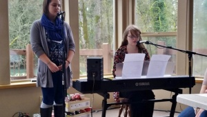 "Amanda Richards and Rachel Richards singing ""Just Be Held"" for special music at the weekend."