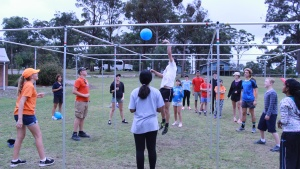 Campers play the game nine square in the air at the Australian Summer camp at Camp Wombaroo.