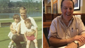 Left: Gary in 1968, just after coming into the Church.  Right: Gary now attends in St. Petersburg, Florida, with his wife, Dagmar.