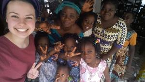 Jessica Hendrickson with brethren in Cotonou, Benin