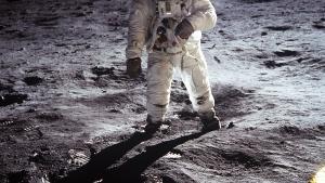 Neil Armstrong's double-horizon shot of Buzz Aldrin on the moon.