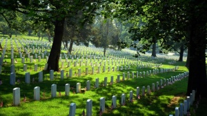 A photo of a cemetery that looks similar to the cemetery that Edwin Benjamin Skogen is buried in.