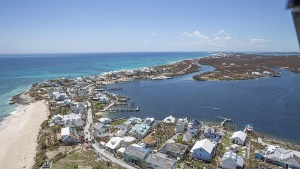 Aerial view of Abaco Island and Marsh Harbour Bahamas in the wake of Hurricane Dorian.