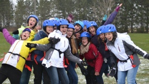 A girls dorm enjoys their time at Winter Camp.