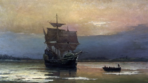 """""""Mayflower in Plymouth Harbor,"""" by William Halsall, 1882 at Pilgrim Hall Museum, Plymouth, Massachusetts, USA"""