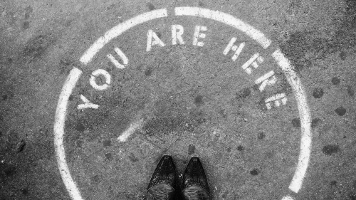 You Are Here with boots black and white