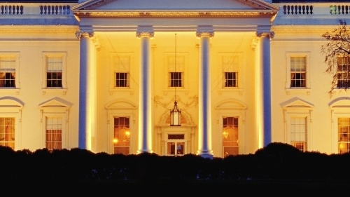 The White House a night time.