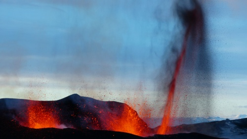 The first part of the eruption of Eyjafjallajökull on Iceland in 2010.
