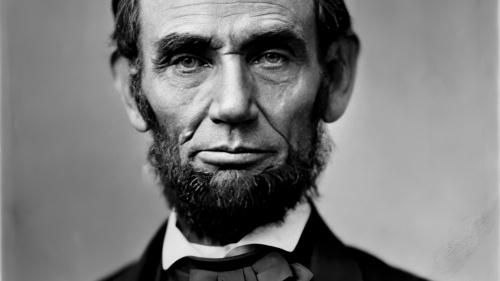 A portrait of Abraham Lincoln.