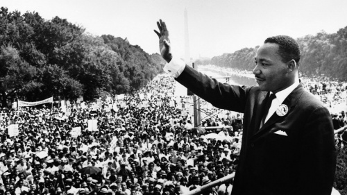 "Martin Luther King Jr. addresses a crowd from the steps of the Lincoln Memorial where he delivered his famous, ""I Have a Dream,"" speech during the Aug. 28, 1963, march on Washington, D.C."