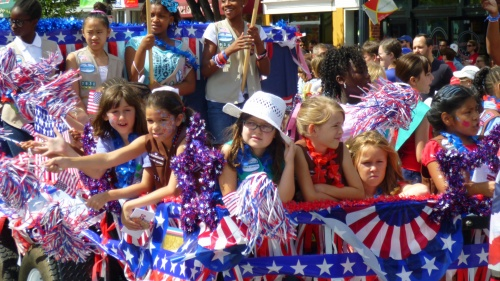 Girls on a parade float.