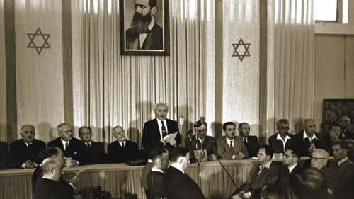 David Ben Gurion, Israel's first prime minister, declares the birth of the modern state of Israel on May 15, 1948, just before the British Mandate was due to end.