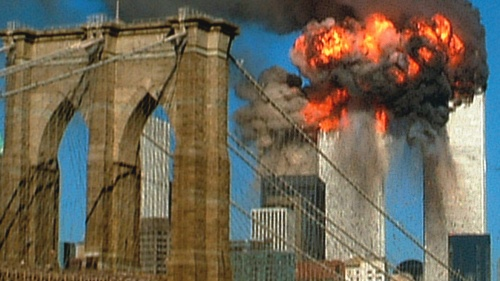 A photo showing the World Trade Center on September 11, 2001.