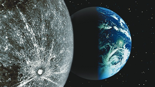 A photo of the Earth and moon from space.