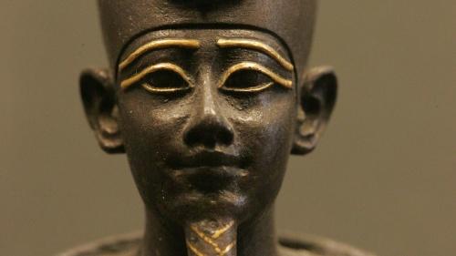 A statue of head of the Egyptian god Osiris.