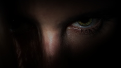 Upclose of angry eyes of a person.
